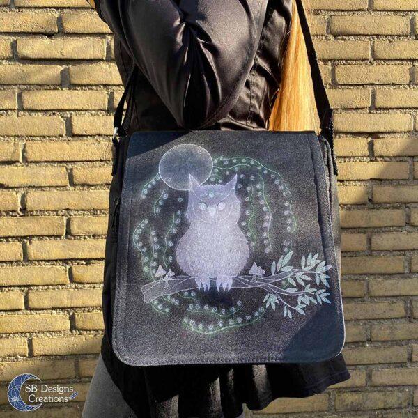 Uil Krachtdier Schoudertas Spiritueel Pagan Art Spirit Animal Shoulderbag-4