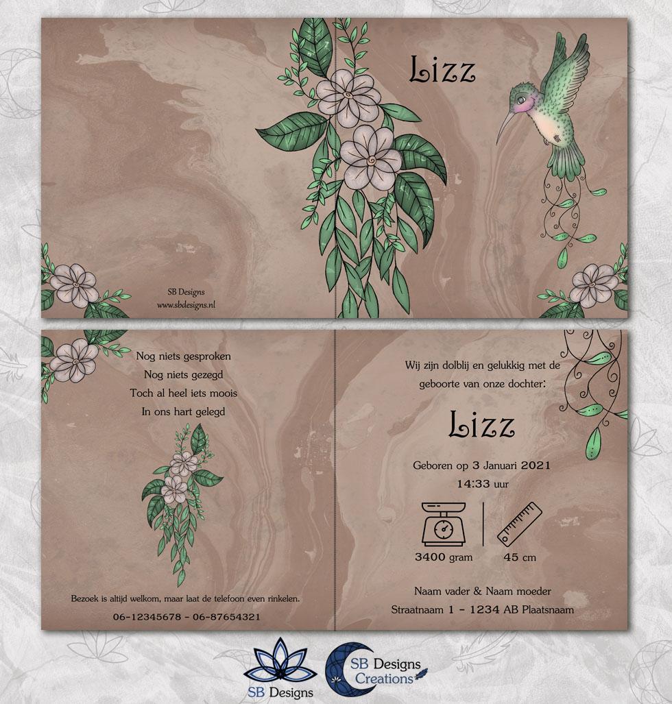 Vogel Bloemen Geboortekaartje Kolibrie - Illustratief kaartje - SB Designs-3