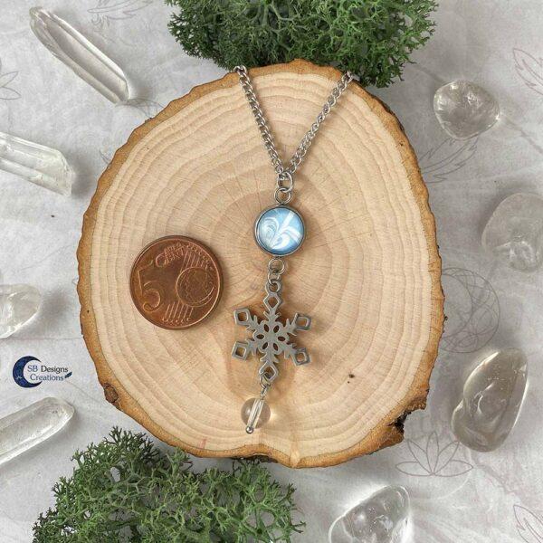 Winter Ketting - Yule Ketting - Sneeuwvlok bergkristal edelsteen ketting