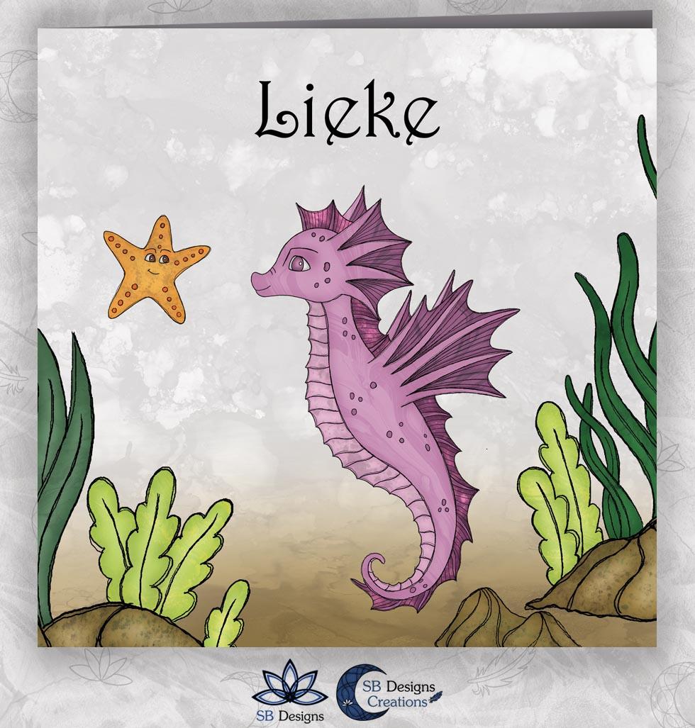 Zeepaardje geboortekaartje Zee Magisch-Dieren-SBDesigns-roze-1
