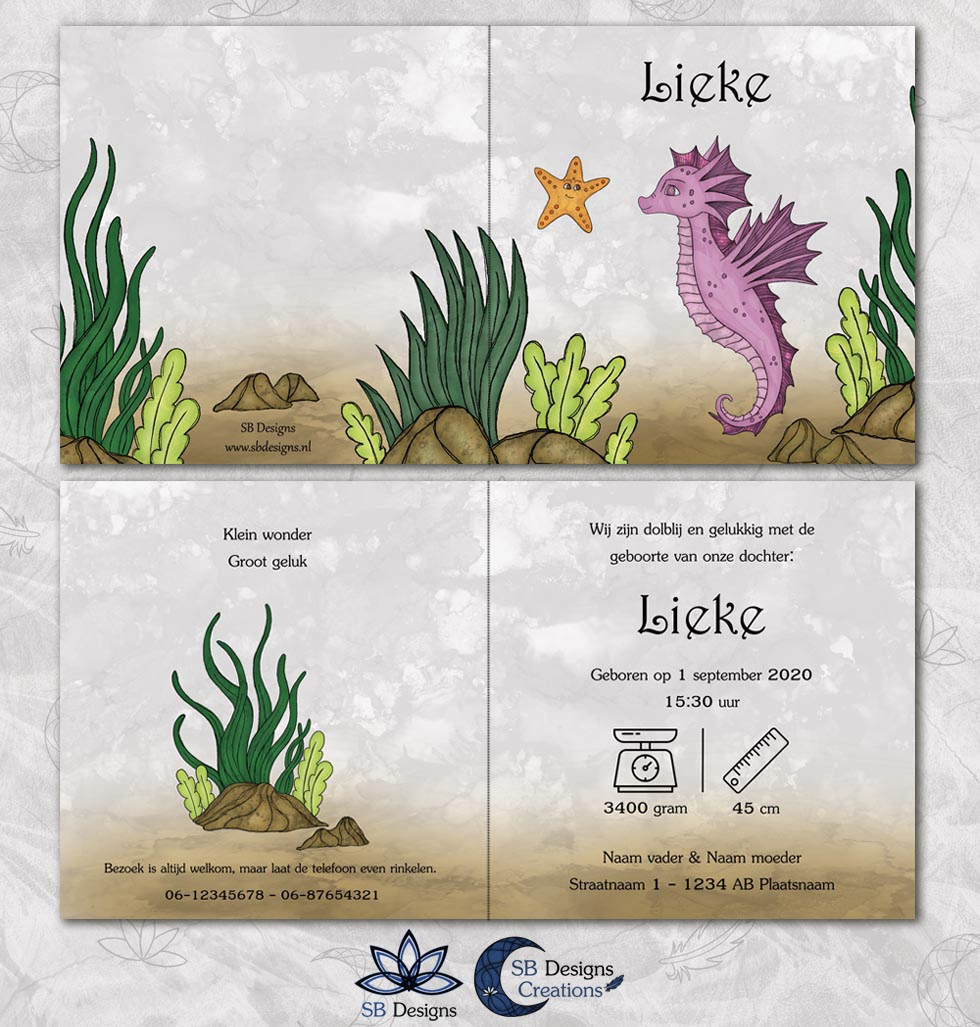 Zeepaardje geboortekaartje Zee Magisch-Dieren-SBDesigns-roze-3