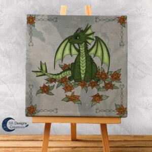 Baby Draakje Groen Fantasy Art Canvas Artprint Klein SB Designs Creations-1