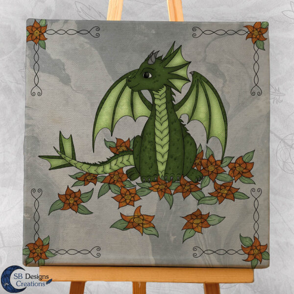 Baby Draakje Groen Fantasy Art Canvas Artprint Klein SB Designs Creations-2