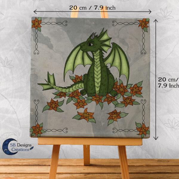 Baby Draakje Groen Fantasy Art Canvas Artprint Klein SB Designs Creations-3