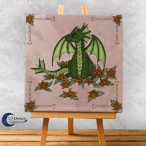 Baby Dragon - Pink- Bloemen draakje - Home and Living Fantasy Style-1