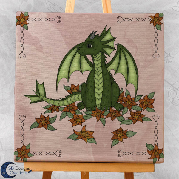 Baby Dragon - Pink- Bloemen draakje - Home and Living Fantasy Style-2