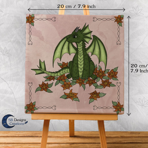 Baby Dragon - Pink- Bloemen draakje - Home and Living Fantasy Style-3