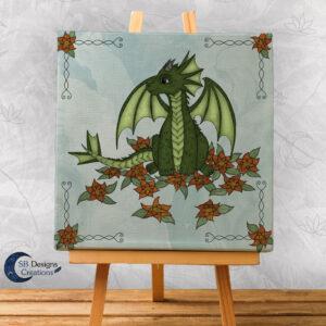 Flower Draakje-Blauw-Baby Draakje Groen - Babykamer Kinderkamer SB Designs Creations-1