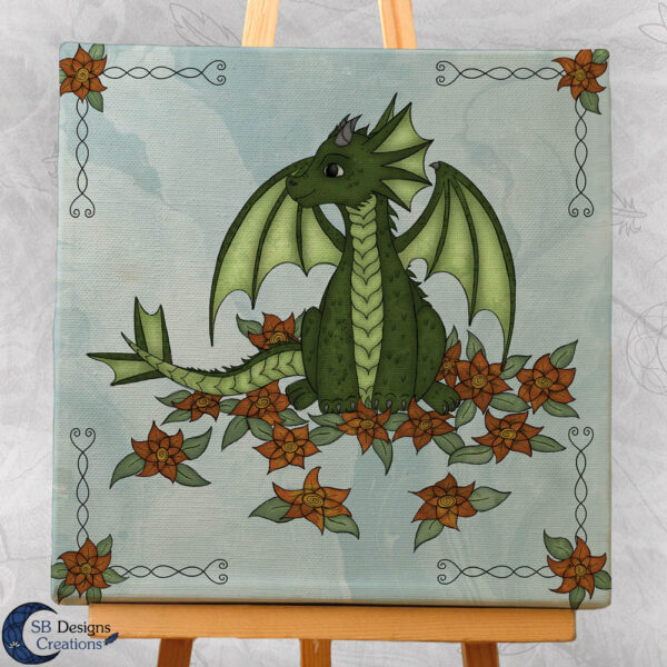 Flower Draakje-Blauw-Baby Draakje Groen - Babykamer Kinderkamer SB Designs Creations-3