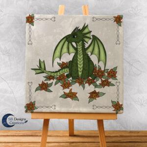 Groen Draakje Art Canvas Print - Fantasy Home and Living - Kinderkamer - Babykamer-Wit-1