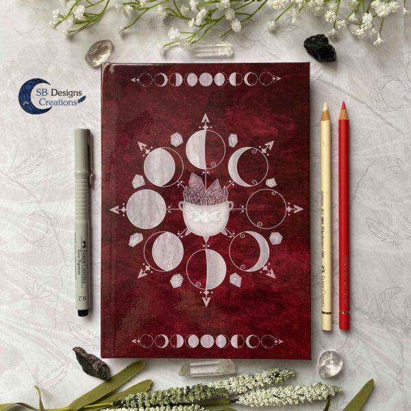 Heksenboek Journal Maanmagie maanfasen Rood-1