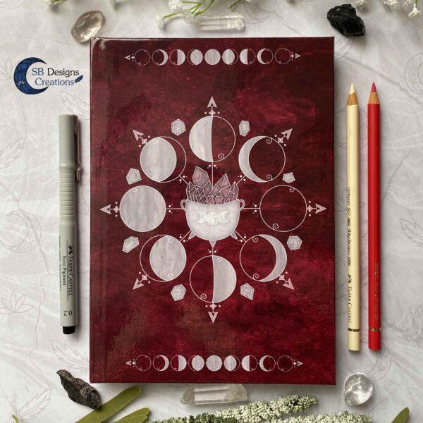 Heksenboek Journal Maanmagie maanfasen Rood-2