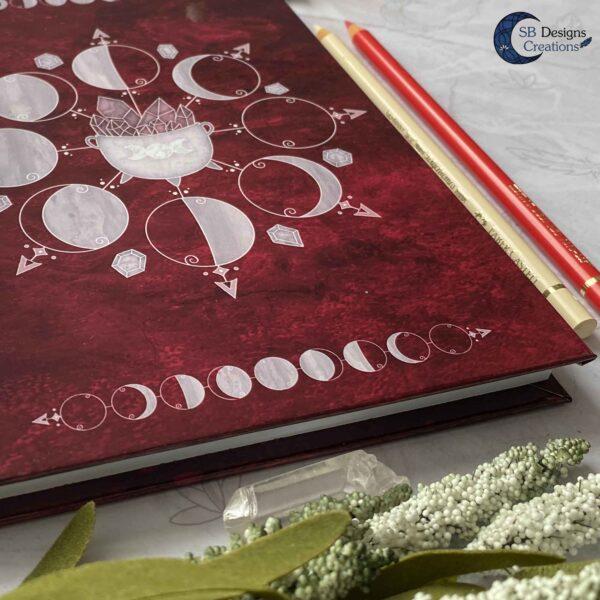 Heksenboek Journal Maanmagie maanfasen Rood-3