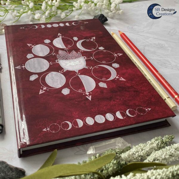 Heksenboek Journal Maanmagie maanfasen Rood-4