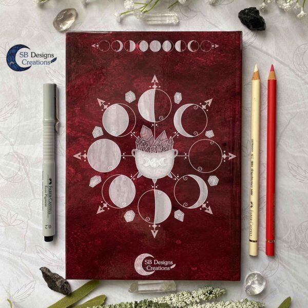 Heksenboek Journal Maanmagie maanfasen Rood-5