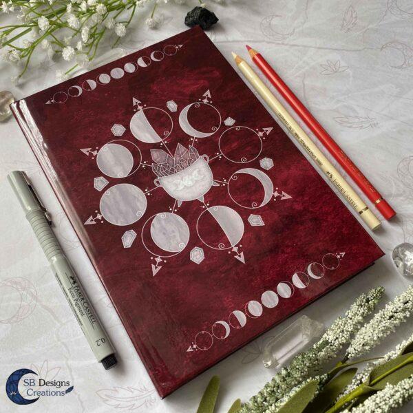 Heksenboek Journal Maanmagie maanfasen Rood-7