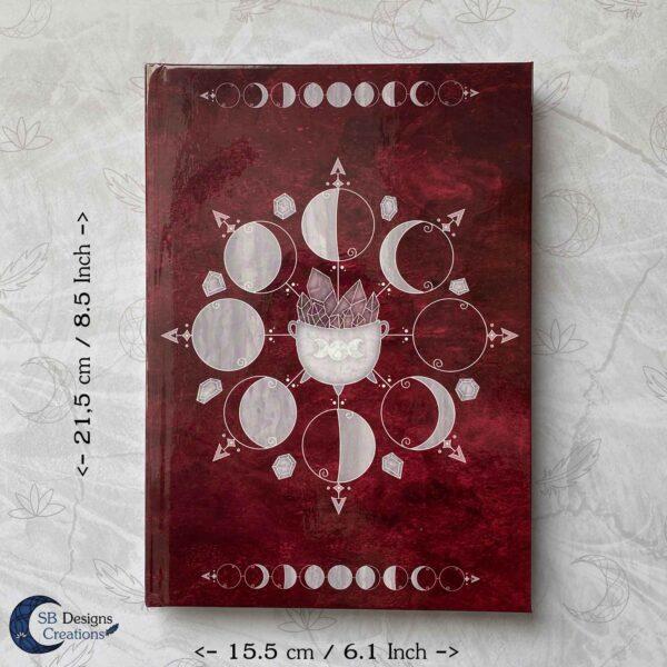 Heksenboek Journal Maanmagie maanfasen Rood-8