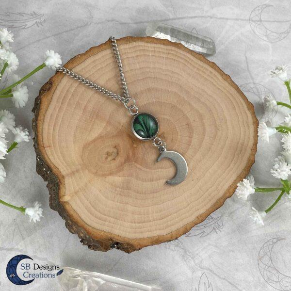 Maan Ketting Groen - Luna Twist - Heks Ketting - Pagan Sieraden-SB Designs Creations-1