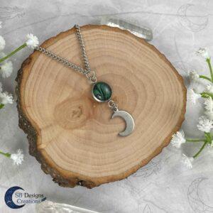 Maan Ketting Groen - Luna Twist - Heks Ketting - Pagan Sieraden-SB Designs Creations-2