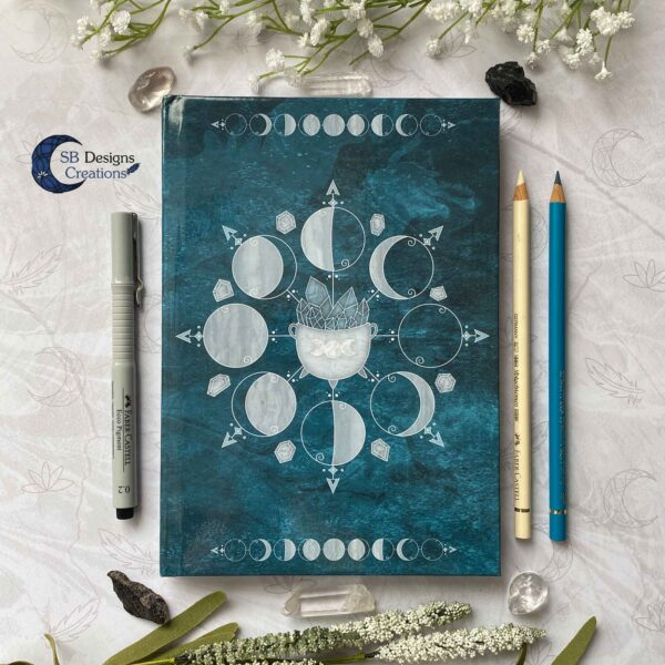 Maanfasen Hardcover Notitieboek A5 Blanco of Lijntjes Witch Book of Shadows Teal-1