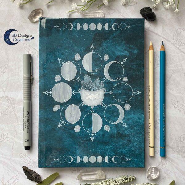 Maanfasen Hardcover Notitieboek A5 Blanco of Lijntjes Witch Book of Shadows Teal-2
