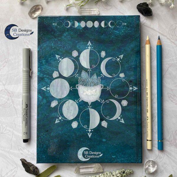 Maanfasen Hardcover Notitieboek A5 Blanco of Lijntjes Witch Book of Shadows Teal-6