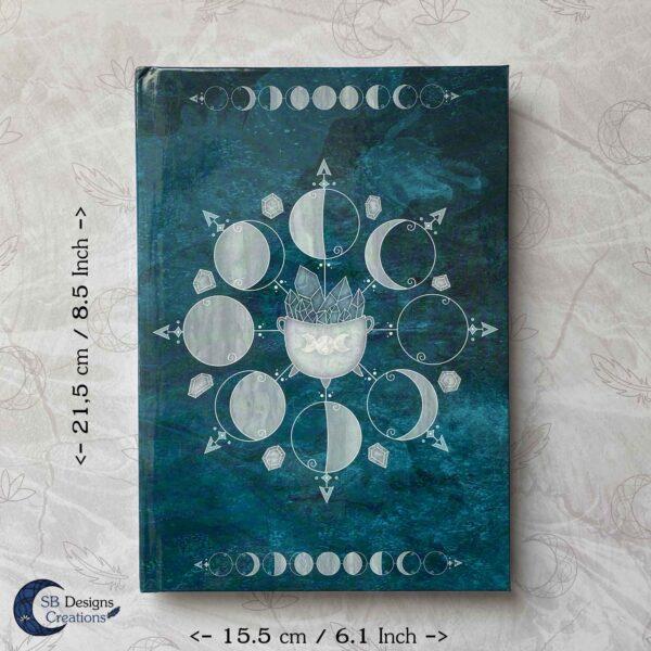 Maanfasen Hardcover Notitieboek A5 Blanco of Lijntjes Witch Book of Shadows Teal-7