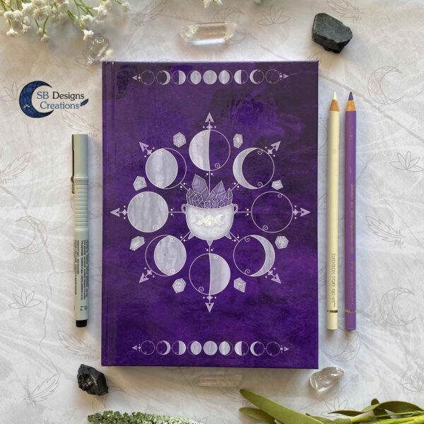 Moonphases Journal Cauldron Notebook Purple-1