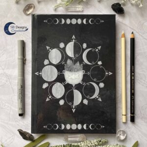 Maanfasen Moon Cycle Heksenketel Zwart Notitieboek Hardcover A5-2