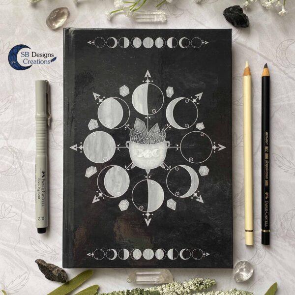Maanfasen Moon Cycle Heksenketel Zwart Notitieboek Hardcover A5-2