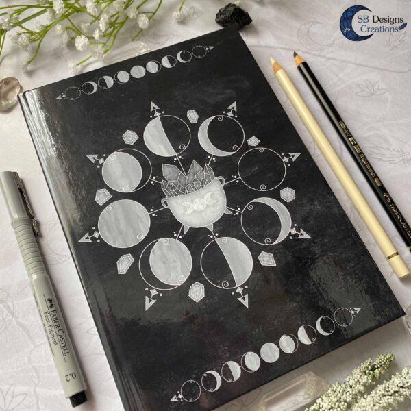Maanfasen Moon Cycle Heksenketel Zwart Notitieboek Hardcover A5-3