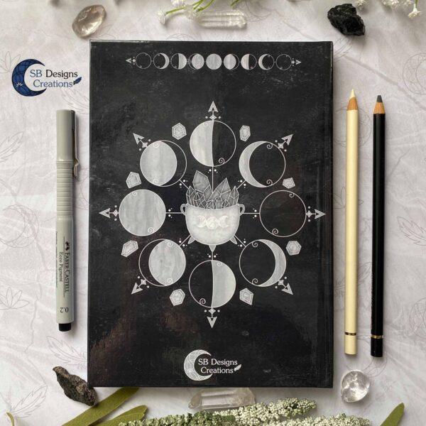 Maanfasen Moon Cycle Heksenketel Zwart Notitieboek Hardcover A5-5