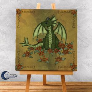Natuur Flower Dragon Fantasy Art Canvas Print 20x20 Fantasy Home & Living-1