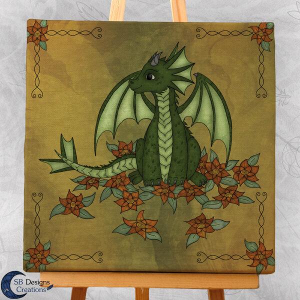 Natuur Flower Dragon Fantasy Art Canvas Print 20x20 Fantasy Home & Living-2