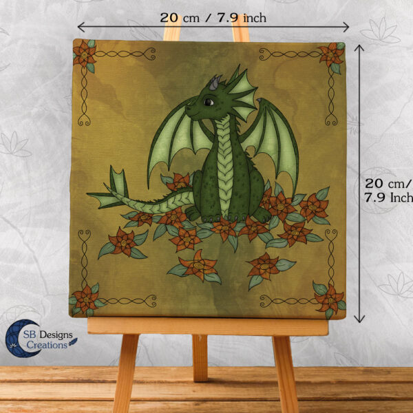 Natuur Flower Dragon Fantasy Art Canvas Print 20x20 Fantasy Home & Living-3