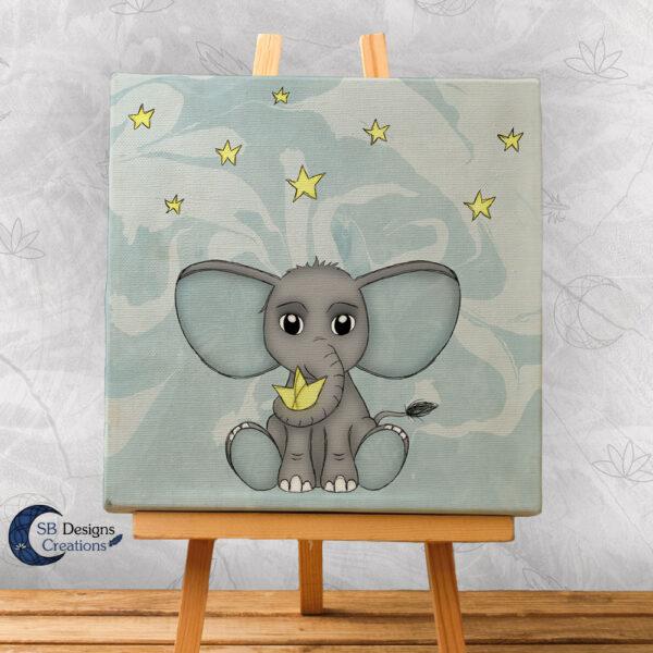 Olifant Blauw Babykamer Canvas Artprint Sterren 20x20 cm-1
