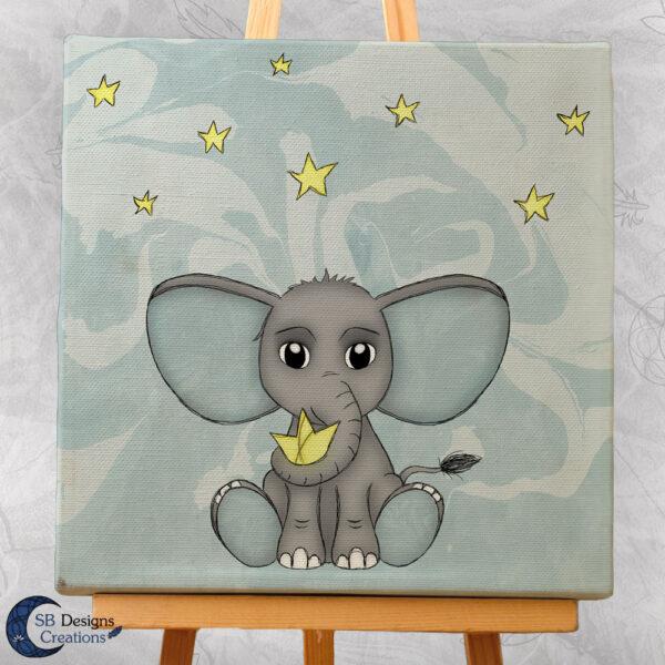 Olifant Blauw Babykamer Canvas Artprint Sterren 20x20 cm-2