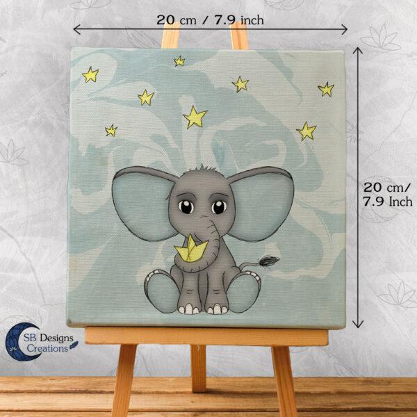 Olifant Blauw Babykamer Canvas Artprint Sterren 20x20 cm-3