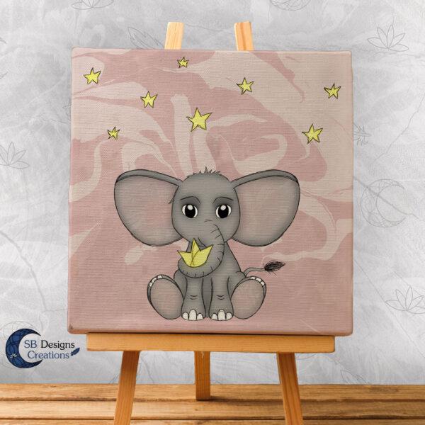 Olifant met sterren Canvas Artprint Baby Girl Roze Schattig babykamer-1
