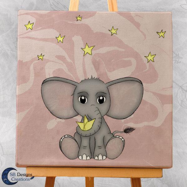 Olifant met sterren Canvas Artprint Baby Girl Roze Schattig babykamer-2