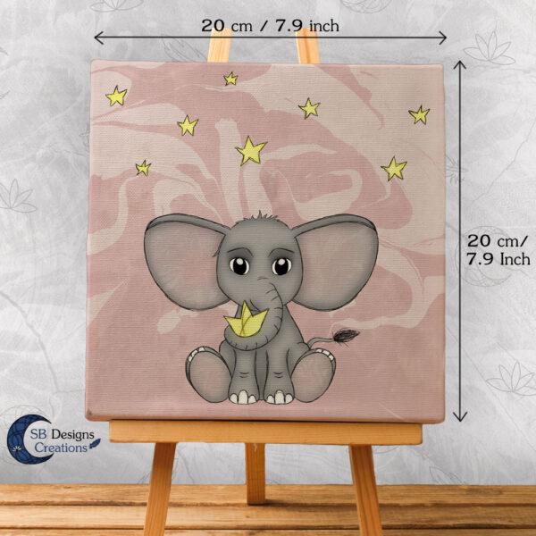Olifant met sterren Canvas Artprint Baby Girl Roze Schattig babykamer-3