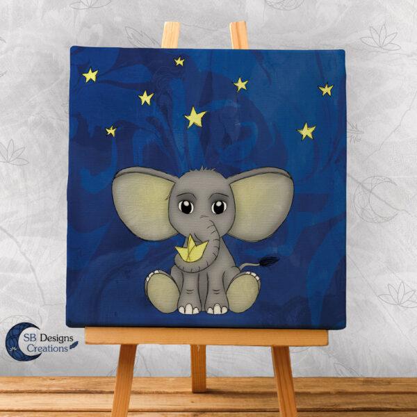 Olifantje Baby Kinderkamer Canvas Artprint 20x20 cm Nacht-1