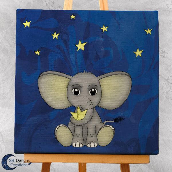 Olifantje Baby Kinderkamer Canvas Artprint 20x20 cm Nacht-2