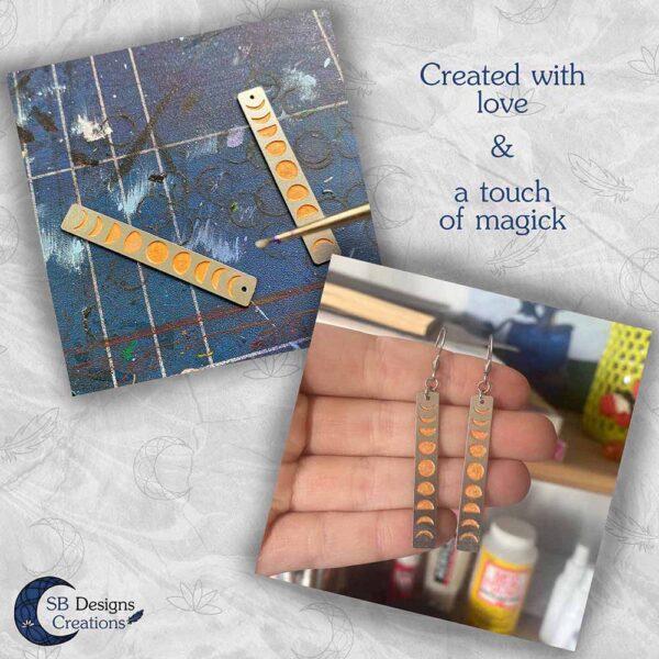 Eigen ontwerp sieraden met handgemaakte elementen SB Designs Creations Maanfasen Oorbellen Oranje