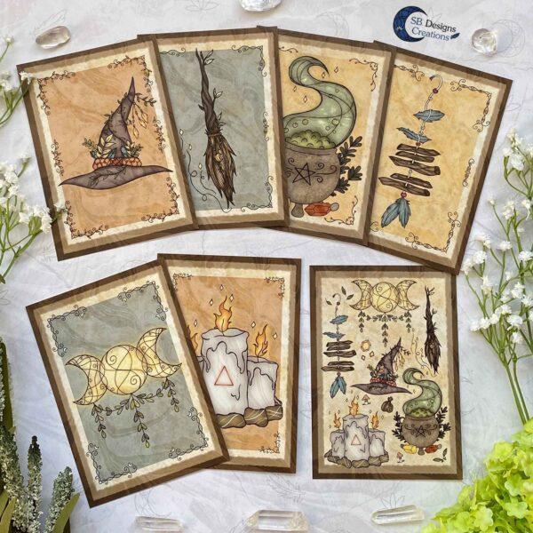 Heks Ansichtkaarten Witchy Vibes heksenhoed Bezem Triple Moon Vuurmagie Cauldron Art-1