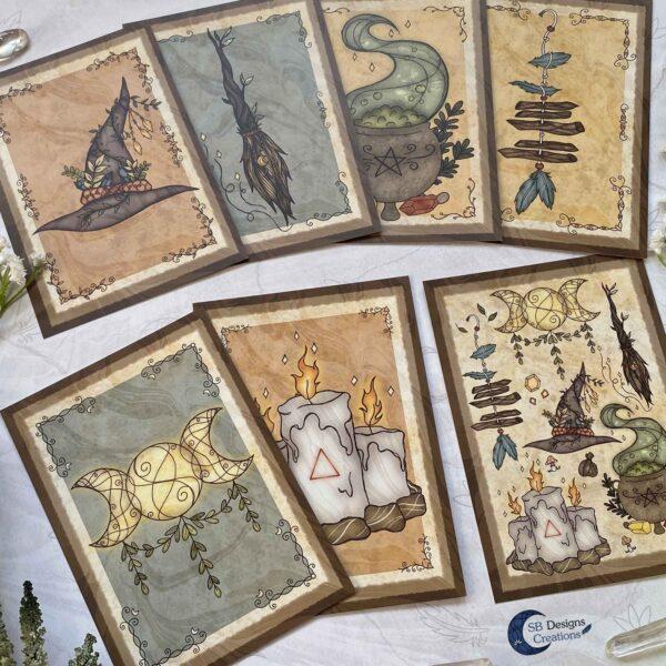 Heks Ansichtkaarten Witchy Vibes heksenhoed Bezem Triple Moon Vuurmagie Cauldron Art-2