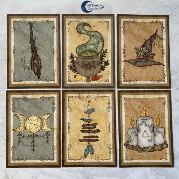 Heks Ansichtkaarten Witchy Vibes heksenhoed Bezem Triple Moon Vuurmagie Cauldron Art-3