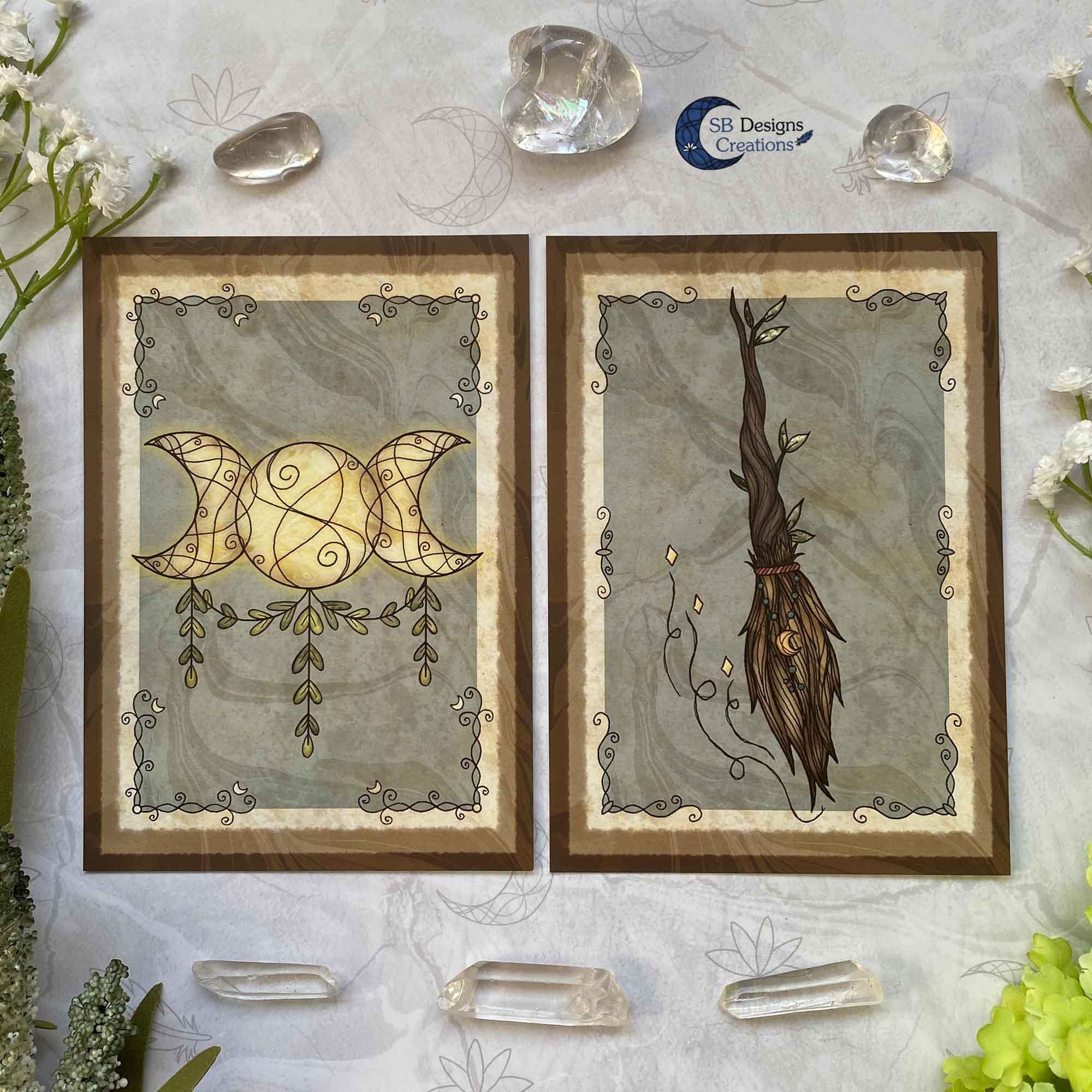 Heks Ansichtkaarten Witchy Vibes heksenhoed Bezem Triple Moon Vuurmagie Cauldron Art-4