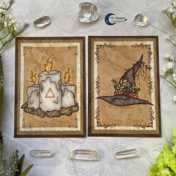 Heks Ansichtkaarten Witchy Vibes heksenhoed Bezem Triple Moon Vuurmagie Cauldron Art-5