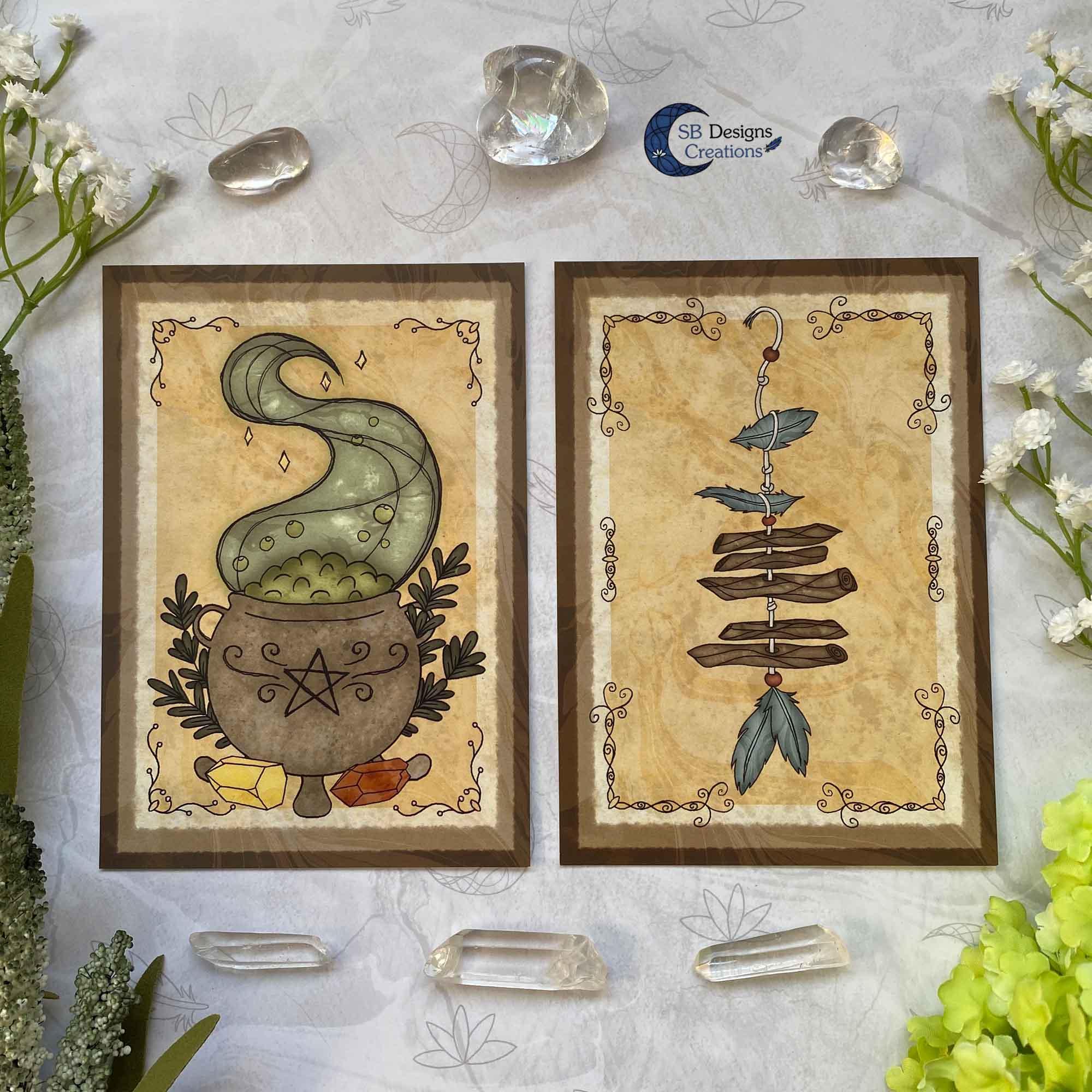 Heks Ansichtkaarten Witchy Vibes heksenhoed Bezem Triple Moon Vuurmagie Cauldron Art-6